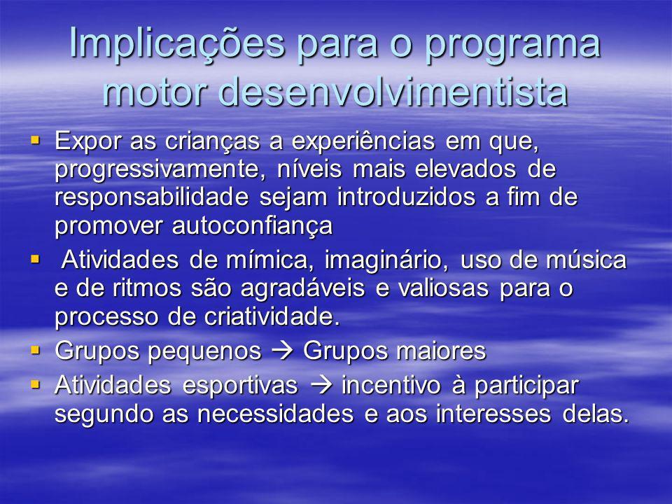 Implicações para o programa motor desenvolvimentista Oportunidades para que refinem habilidades motoras fundamentais nas áreas de locomoção, manipulaç