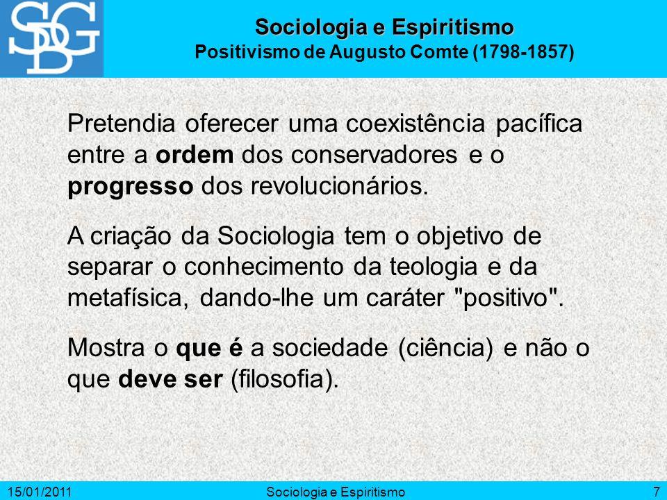 15/01/2011Sociologia e Espiritismo7 Positivismo de Augusto Comte (1798-1857) Pretendia oferecer uma coexistência pacífica entre a ordem dos conservado