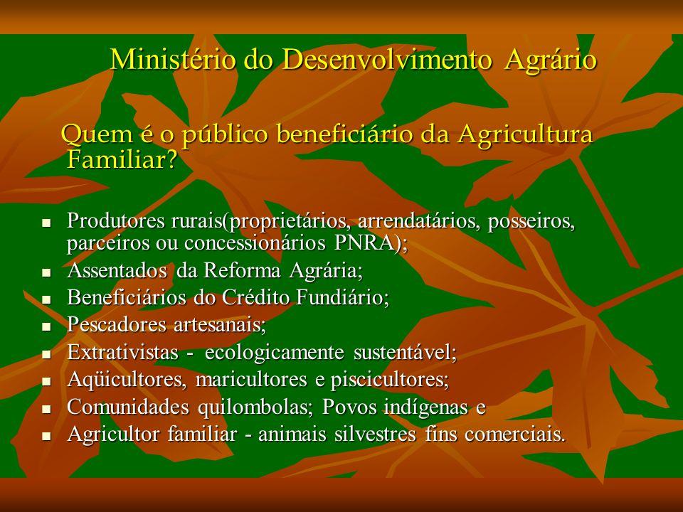 Ministério do Desenvolvimento Agrário Quem é o público beneficiário da Agricultura Familiar.