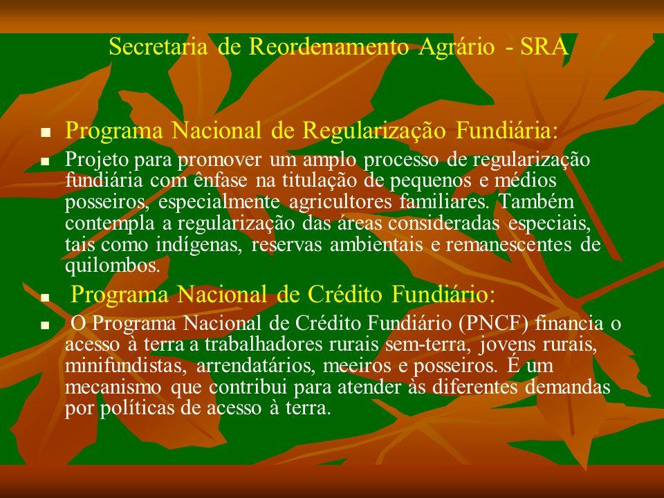 Secretaria de Reordenamento Agrário - SRA Programa Nacional de Regularização Fundiária: Projeto para promover um amplo processo de regularização fundiária com ênfase na titulação de pequenos e médios posseiros, especialmente agricultores familiares.