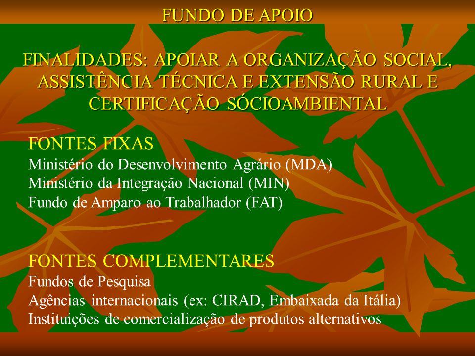 FUNDO DE APOIO FINALIDADES: APOIAR A ORGANIZAÇÃO SOCIAL, ASSISTÊNCIA TÉCNICA E EXTENSÃO RURAL E CERTIFICAÇÃO SÓCIOAMBIENTAL FONTES FIXAS Ministério do Desenvolvimento Agrário (MDA) Ministério da Integração Nacional (MIN) Fundo de Amparo ao Trabalhador (FAT) FONTES COMPLEMENTARES Fundos de Pesquisa Agências internacionais (ex: CIRAD, Embaixada da Itália) Instituições de comercialização de produtos alternativos