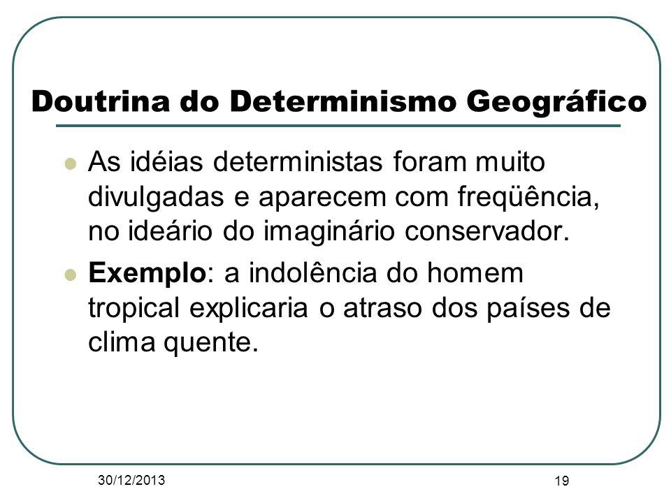 Doutrina do Determinismo Geográfico As idéias deterministas foram muito divulgadas e aparecem com freqüência, no ideário do imaginário conservador. Ex