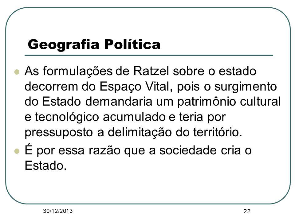 As formulações de Ratzel sobre o estado decorrem do Espaço Vital, pois o surgimento do Estado demandaria um patrimônio cultural e tecnológico acumulad
