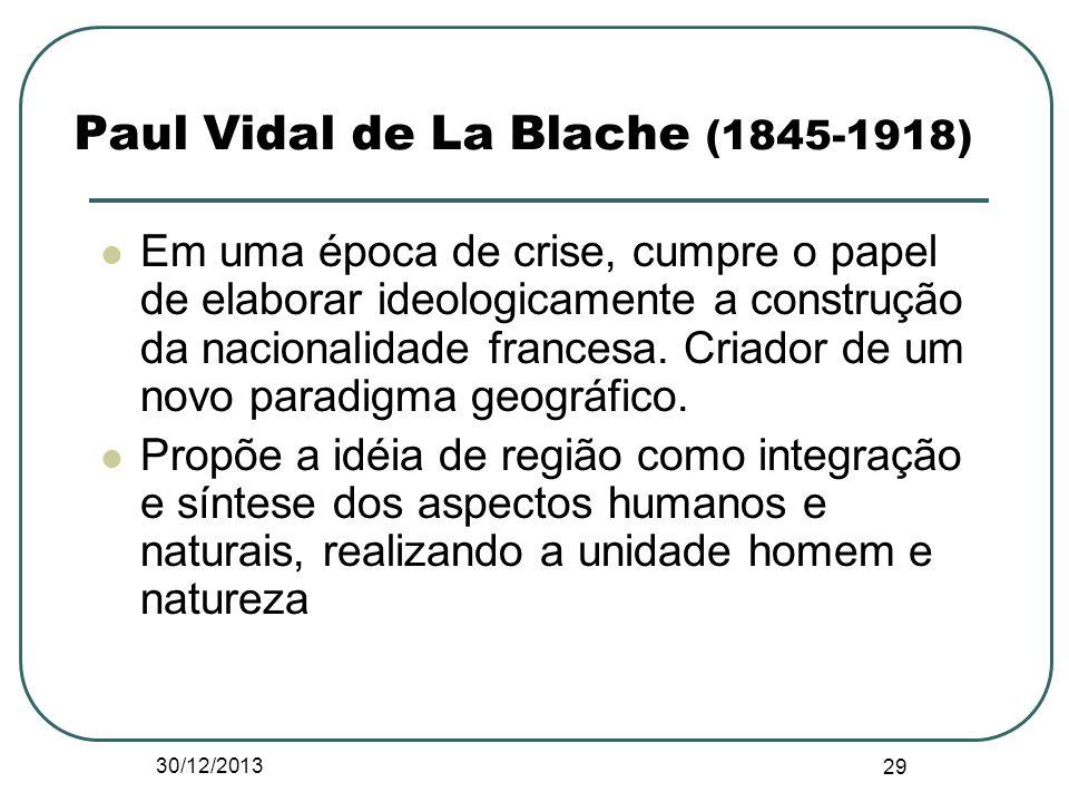 Paul Vidal de La Blache (1845-1918) Em uma época de crise, cumpre o papel de elaborar ideologicamente a construção da nacionalidade francesa. Criador