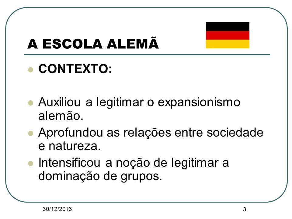 A ESCOLA ALEMÃ CONTEXTO: Auxiliou a legitimar o expansionismo alemão. Aprofundou as relações entre sociedade e natureza. Intensificou a noção de legit