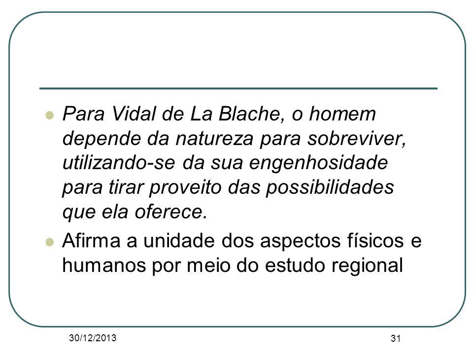 Para Vidal de La Blache, o homem depende da natureza para sobreviver, utilizando-se da sua engenhosidade para tirar proveito das possibilidades que el