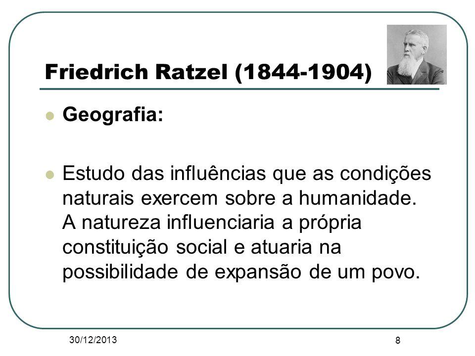 Friedrich Ratzel (1844-1904) Geografia: Estudo das influências que as condições naturais exercem sobre a humanidade. A natureza influenciaria a própri