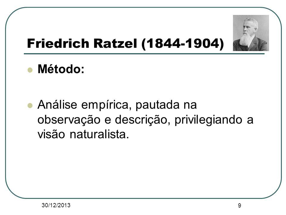 Friedrich Ratzel (1844-1904) Método: Análise empírica, pautada na observação e descrição, privilegiando a visão naturalista. 30/12/2013 9