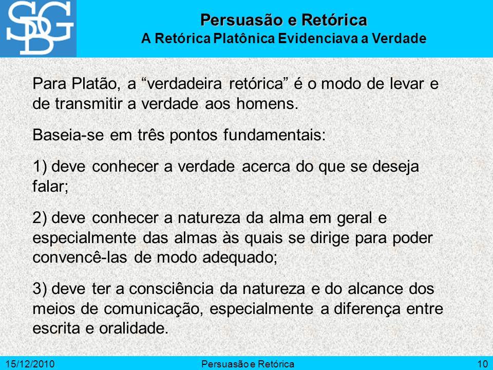 15/12/2010Persuasão e Retórica10 Para Platão, a verdadeira retórica é o modo de levar e de transmitir a verdade aos homens. Baseia-se em três pontos f