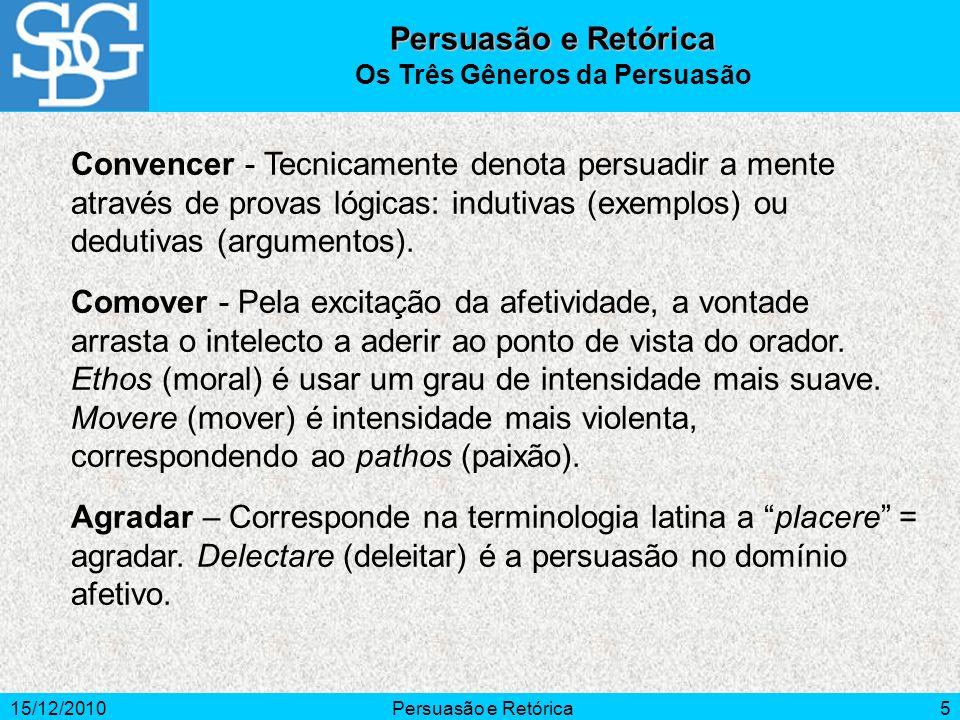 15/12/2010Persuasão e Retórica5 Convencer - Tecnicamente denota persuadir a mente através de provas lógicas: indutivas (exemplos) ou dedutivas (argume