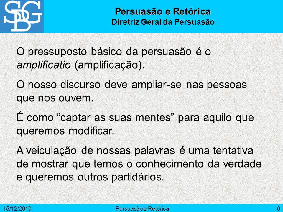 15/12/2010Persuasão e Retórica6 O pressuposto básico da persuasão é o amplificatio (amplificação). O nosso discurso deve ampliar-se nas pessoas que no