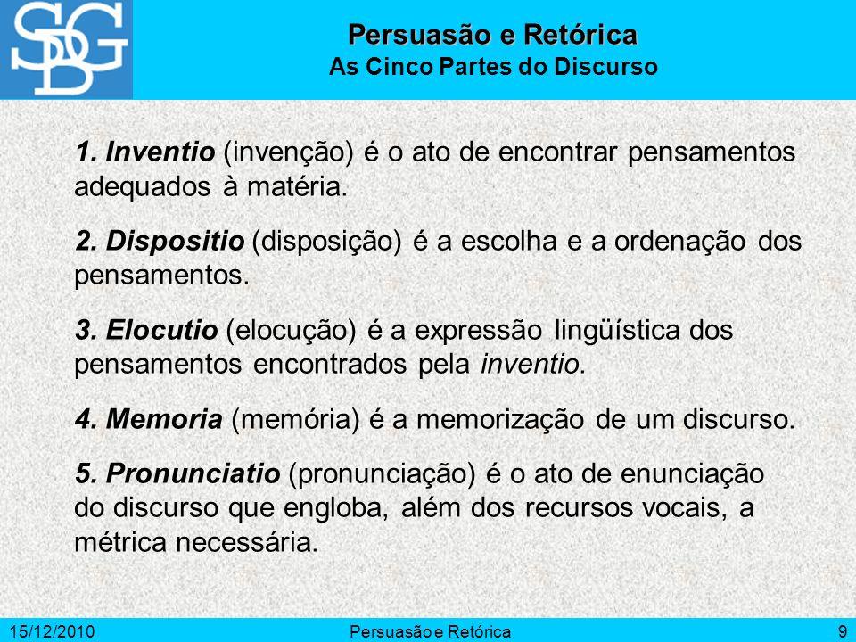 15/12/2010Persuasão e Retórica9 1. Inventio (invenção) é o ato de encontrar pensamentos adequados à matéria. 2. Dispositio (disposição) é a escolha e