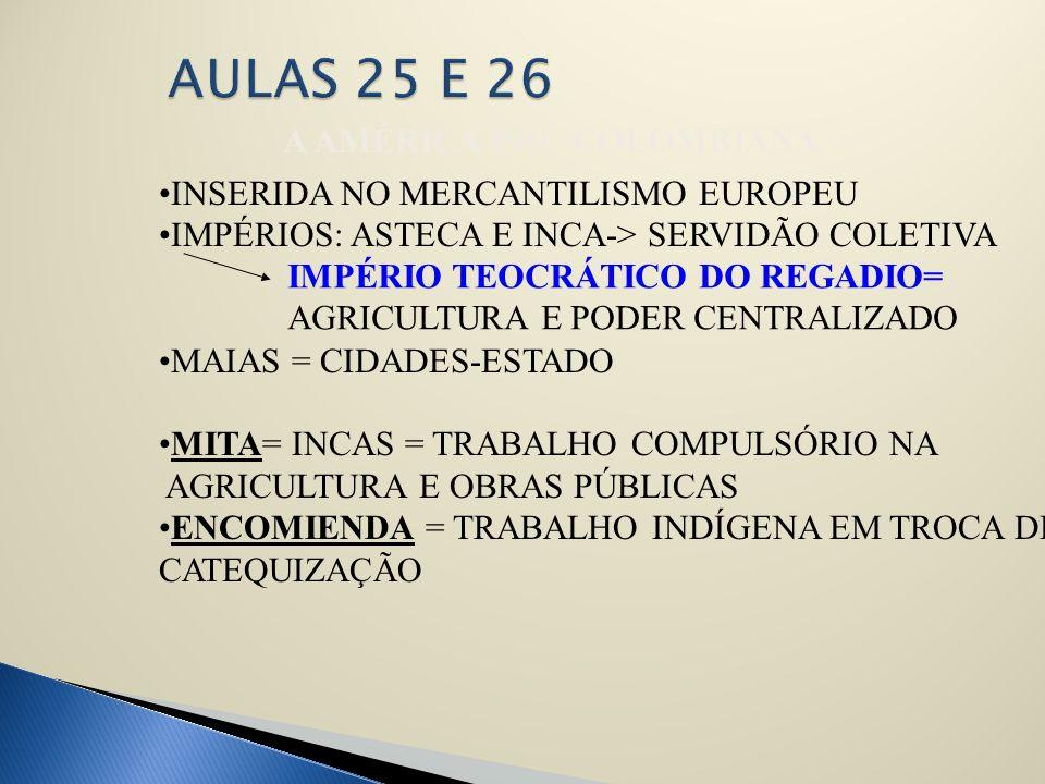 A AMÉRICA PRÉ-COLOMBIANA INSERIDA NO MERCANTILISMO EUROPEU IMPÉRIOS: ASTECA E INCA-> SERVIDÃO COLETIVA MAIAS = CIDADES-ESTADO MITA= INCAS = TRABALHO C