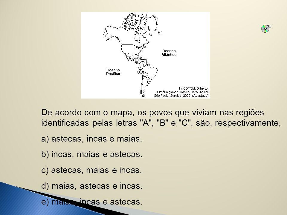 De acordo com o mapa, os povos que viviam nas regiões identificadas pelas letras