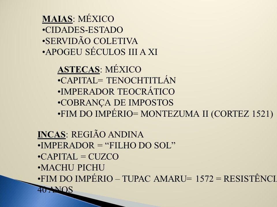 MAIAS: MÉXICO CIDADES-ESTADO SERVIDÃO COLETIVA APOGEU SÉCULOS III A XI ASTECAS: MÉXICO CAPITAL= TENOCHTITLÁN IMPERADOR TEOCRÁTICO COBRANÇA DE IMPOSTOS
