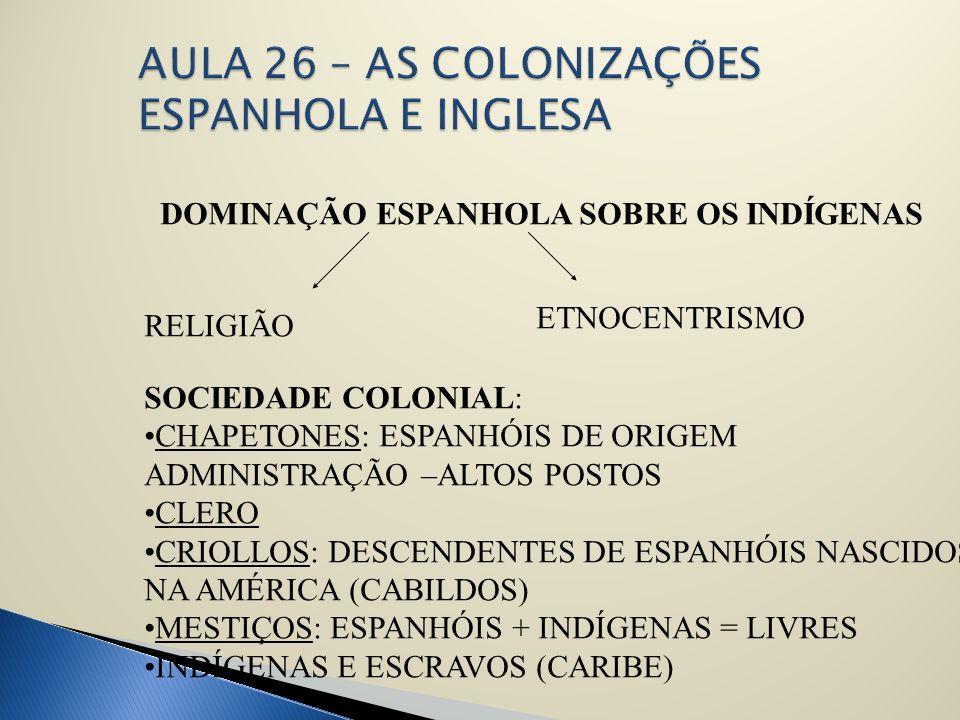 DOMINAÇÃO ESPANHOLA SOBRE OS INDÍGENAS RELIGIÃO ETNOCENTRISMO SOCIEDADE COLONIAL: CHAPETONES: ESPANHÓIS DE ORIGEM ADMINISTRAÇÃO –ALTOS POSTOS CLERO CR