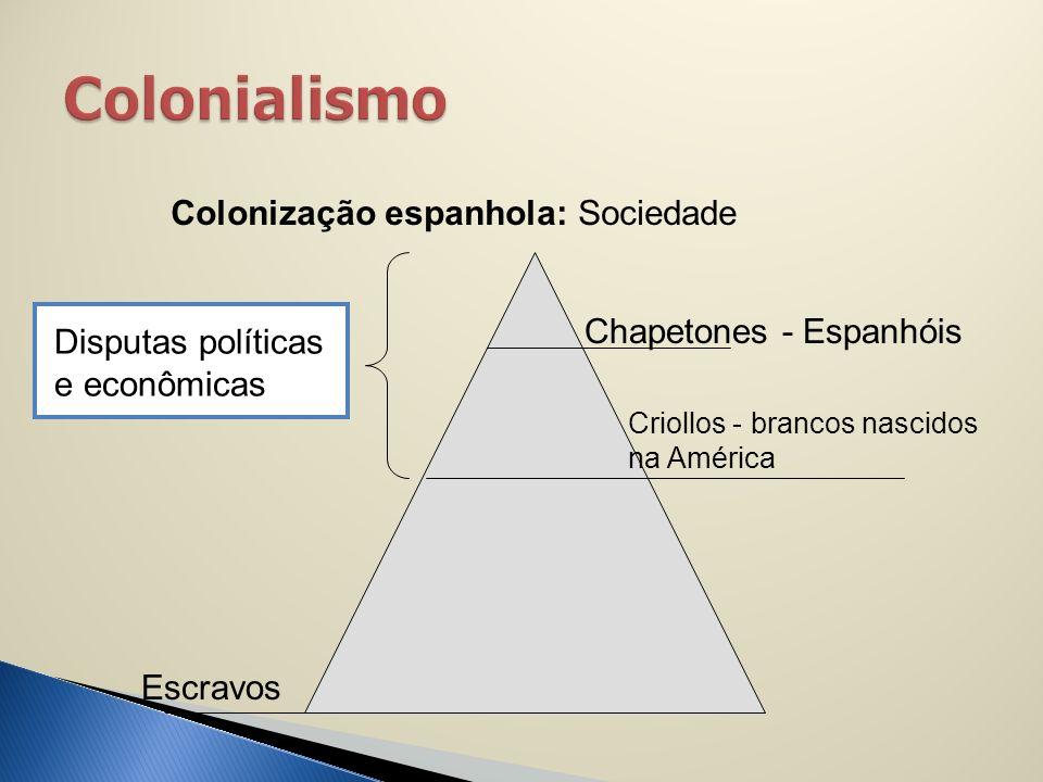 Colonização espanhola: Sociedade Chapetones - Espanhóis Criollos - brancos nascidos na América Escravos Disputas políticas e econômicas