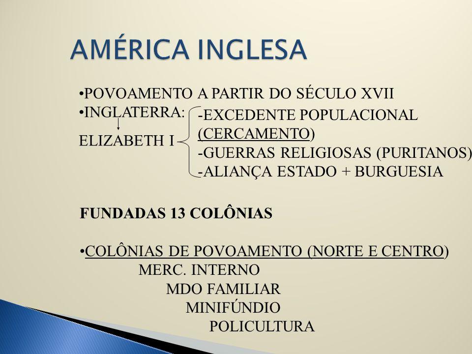 POVOAMENTO A PARTIR DO SÉCULO XVII INGLATERRA: -EXCEDENTE POPULACIONAL (CERCAMENTO) -GUERRAS RELIGIOSAS (PURITANOS) -ALIANÇA ESTADO + BURGUESIA FUNDAD