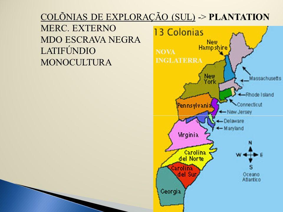 COLÕNIAS DE EXPLORAÇÃO (SUL) -> PLANTATION MERC. EXTERNO MDO ESCRAVA NEGRA LATIFÚNDIO MONOCULTURA NOVA INGLATERRA