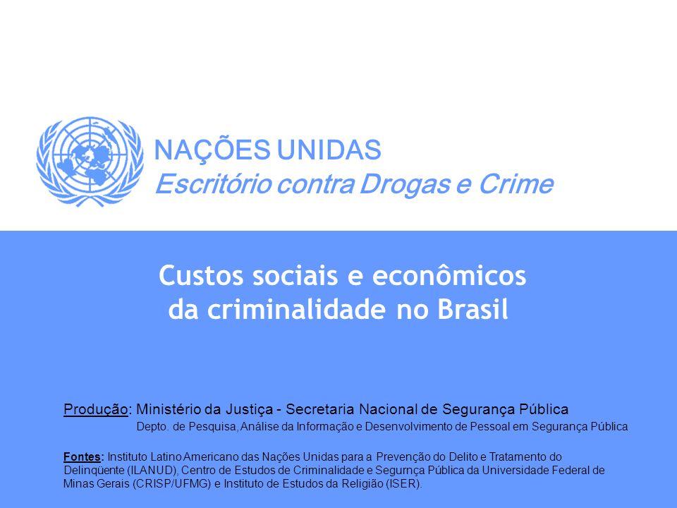 Custos sociais e econômicos da criminalidade no Brasil NAÇÕES UNIDAS Escritório contra Drogas e Crime Produção: Ministério da Justiça - Secretaria Nac