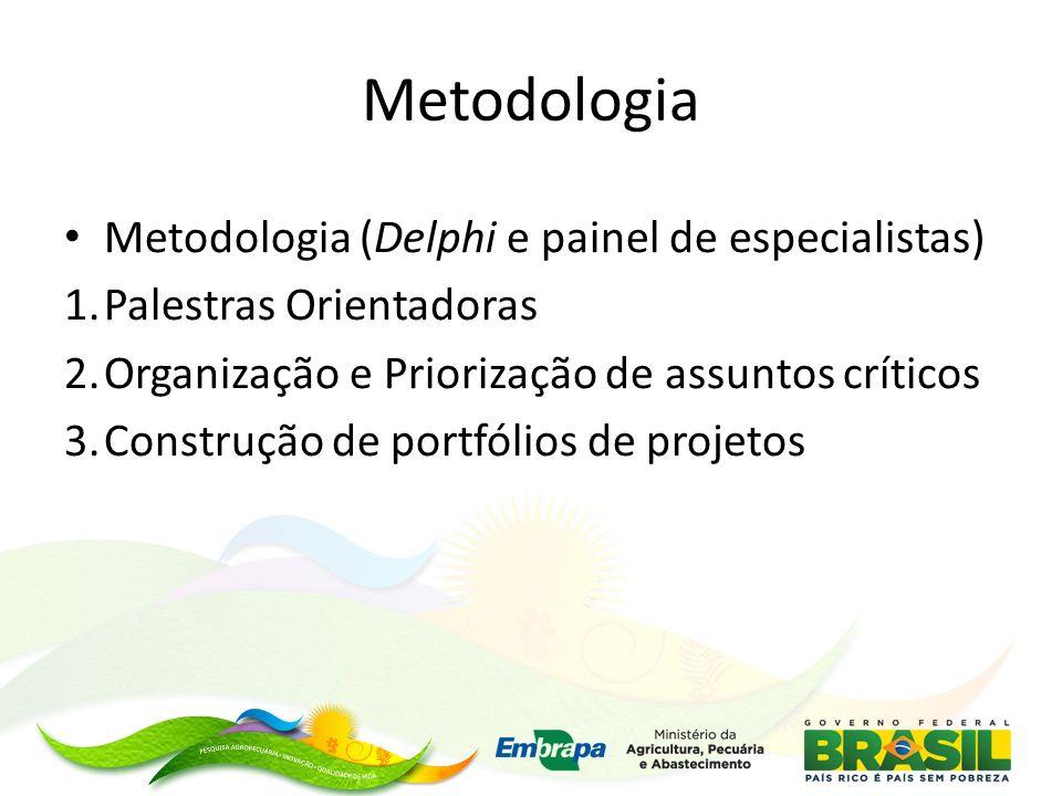 Metodologia Metodologia (Delphi e painel de especialistas) 1.Palestras Orientadoras 2.Organização e Priorização de assuntos críticos 3.Construção de p