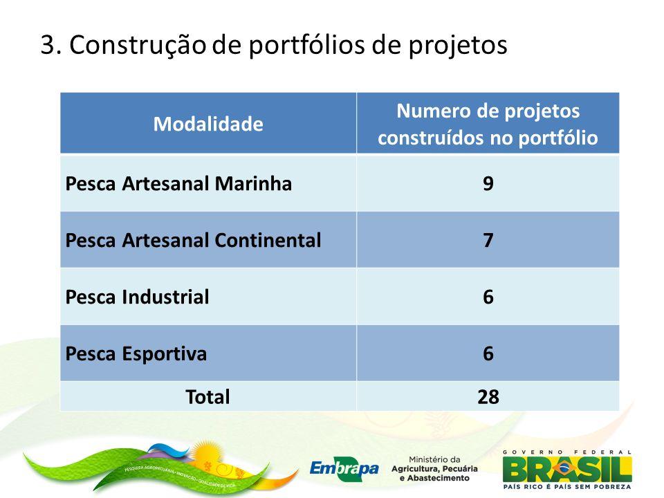 3. Construção de portfólios de projetos Modalidade Numero de projetos construídos no portfólio Pesca Artesanal Marinha9 Pesca Artesanal Continental7 P