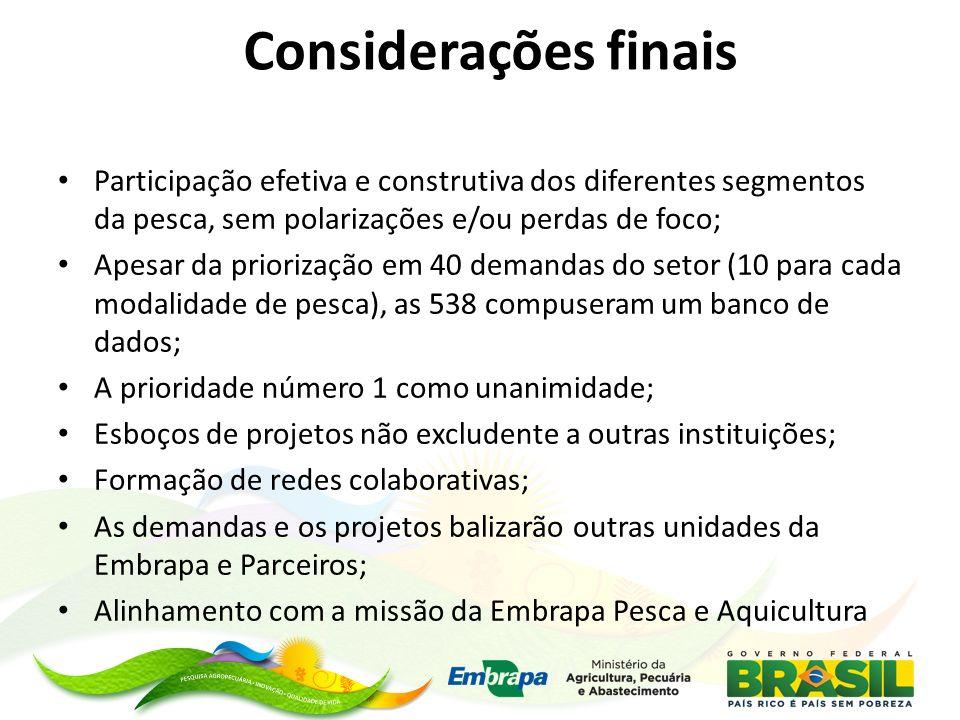 Considerações finais Participação efetiva e construtiva dos diferentes segmentos da pesca, sem polarizações e/ou perdas de foco; Apesar da priorização