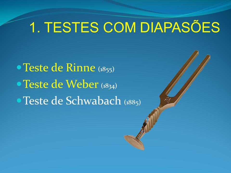 Teste de Rinne (1855) Teste de Weber (1834) Teste de Schwabach (1885) 1. TESTES COM DIAPASÕES