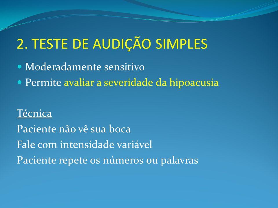2. TESTE DE AUDIÇÃO SIMPLES Moderadamente sensitivo Permite avaliar a severidade da hipoacusia Técnica Paciente não vê sua boca Fale com intensidade v