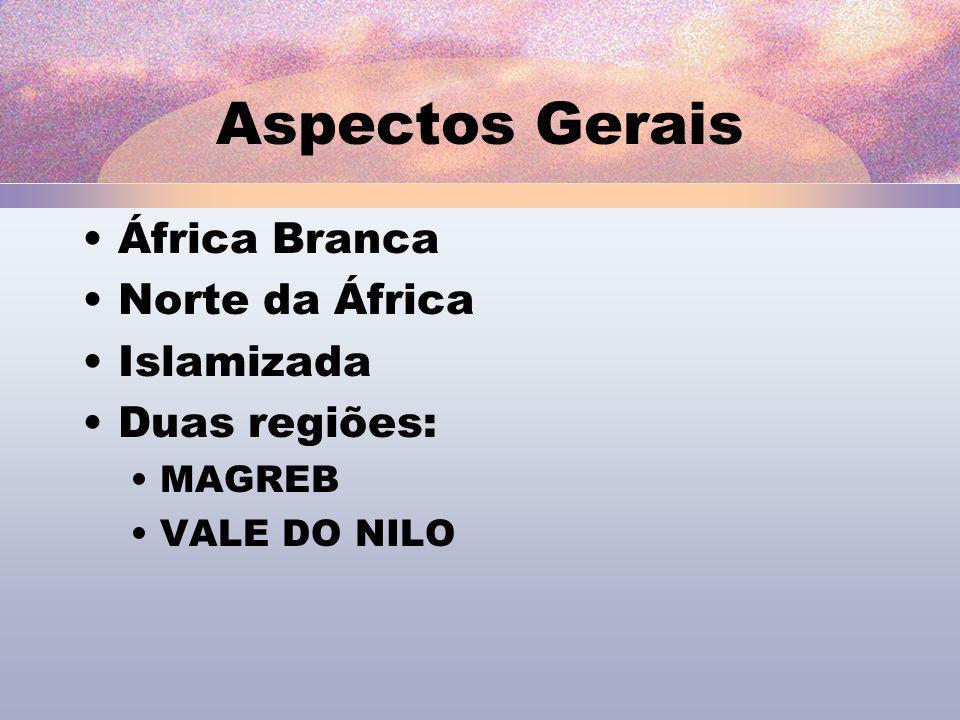 Aspectos Gerais África Branca Norte da África Islamizada Duas regiões: MAGREB VALE DO NILO