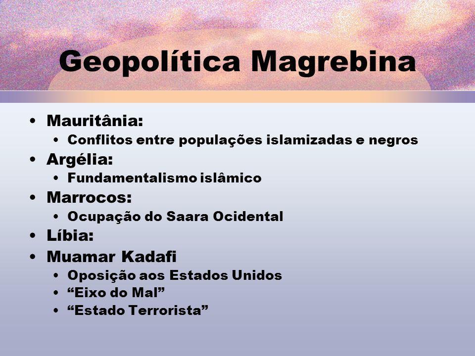 Geopolítica Magrebina Mauritânia: Conflitos entre populações islamizadas e negros Argélia: Fundamentalismo islâmico Marrocos: Ocupação do Saara Ociden