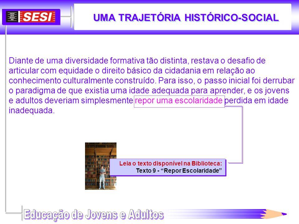 UMA TRAJETÓRIA HISTÓRICO-SOCIAL Leia o texto disponível na Biblioteca: Texto 9 - Repor Escolaridade Leia o texto disponível na Biblioteca: Texto 9 - R