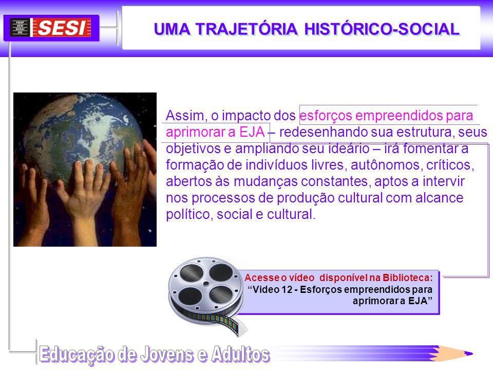 UMA TRAJETÓRIA HISTÓRICO-SOCIAL Acesse o vídeo disponível na Biblioteca: Video 12 - Esforços empreendidos para aprimorar a EJA Acesse o vídeo disponív