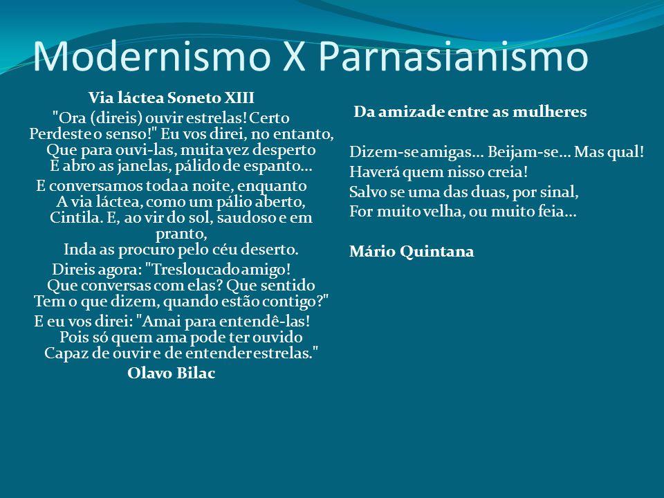 Modernismo X Parnasianismo Via láctea Soneto XIII