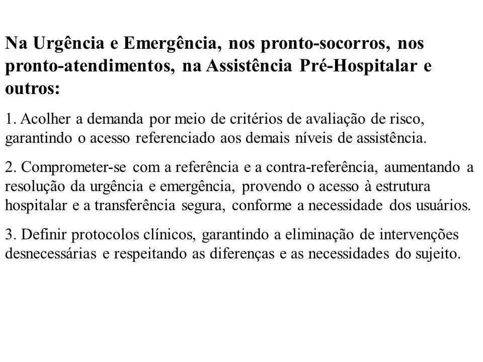 Na Urgência e Emergência, nos pronto-socorros, nos pronto-atendimentos, na Assistência Pré-Hospitalar e outros: 1. Acolher a demanda por meio de crité
