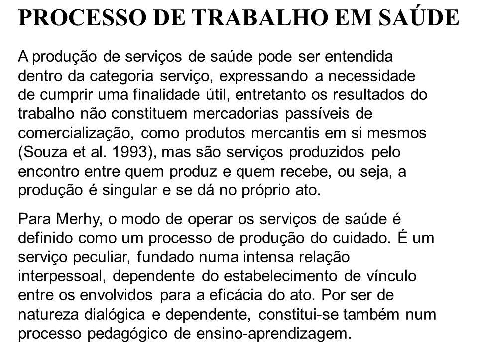 A produção de serviços de saúde pode ser entendida dentro da categoria serviço, expressando a necessidade de cumprir uma finalidade útil, entretanto o