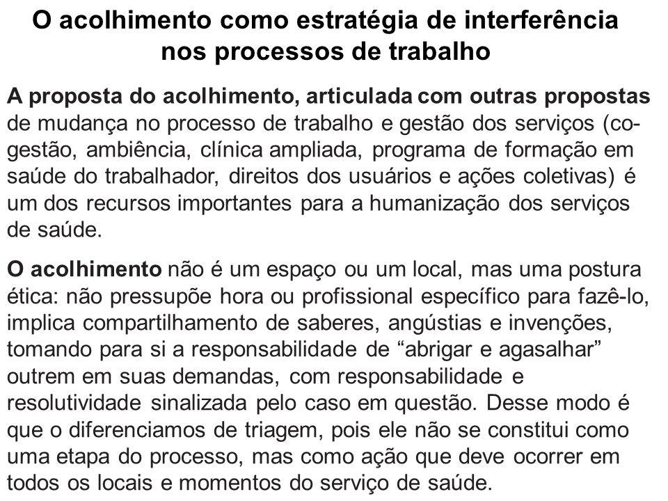 A proposta do acolhimento, articulada com outras propostas de mudança no processo de trabalho e gestão dos serviços (co- gestão, ambiência, clínica am