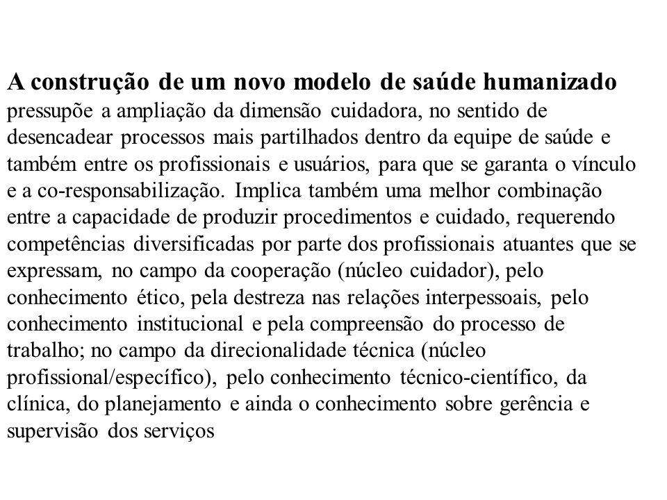 A construção de um novo modelo de saúde humanizado pressupõe a ampliação da dimensão cuidadora, no sentido de desencadear processos mais partilhados d