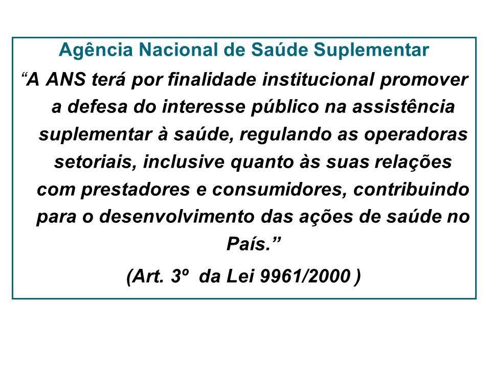 Agência Nacional de Saúde Suplementar A ANS terá por finalidade institucional promover a defesa do interesse público na assistência suplementar à saúd