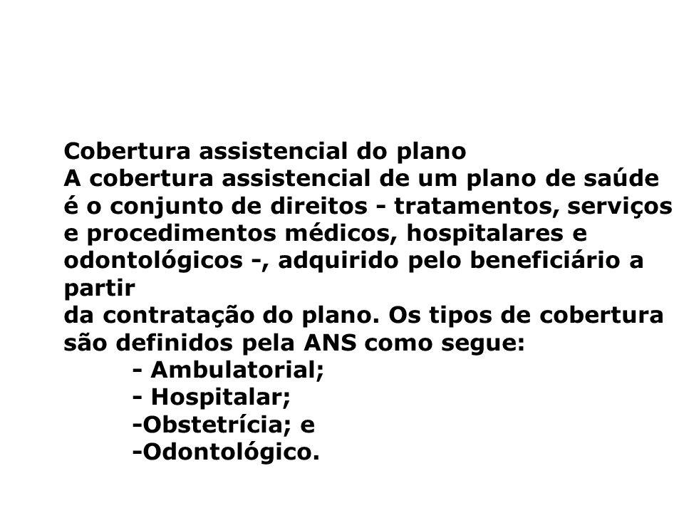 Cobertura assistencial do plano A cobertura assistencial de um plano de saúde é o conjunto de direitos - tratamentos, serviços e procedimentos médicos