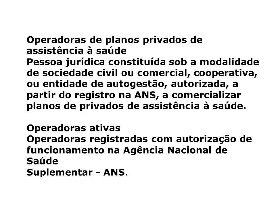Operadoras de planos privados de assistência à saúde Pessoa jurídica constituída sob a modalidade de sociedade civil ou comercial, cooperativa, ou ent