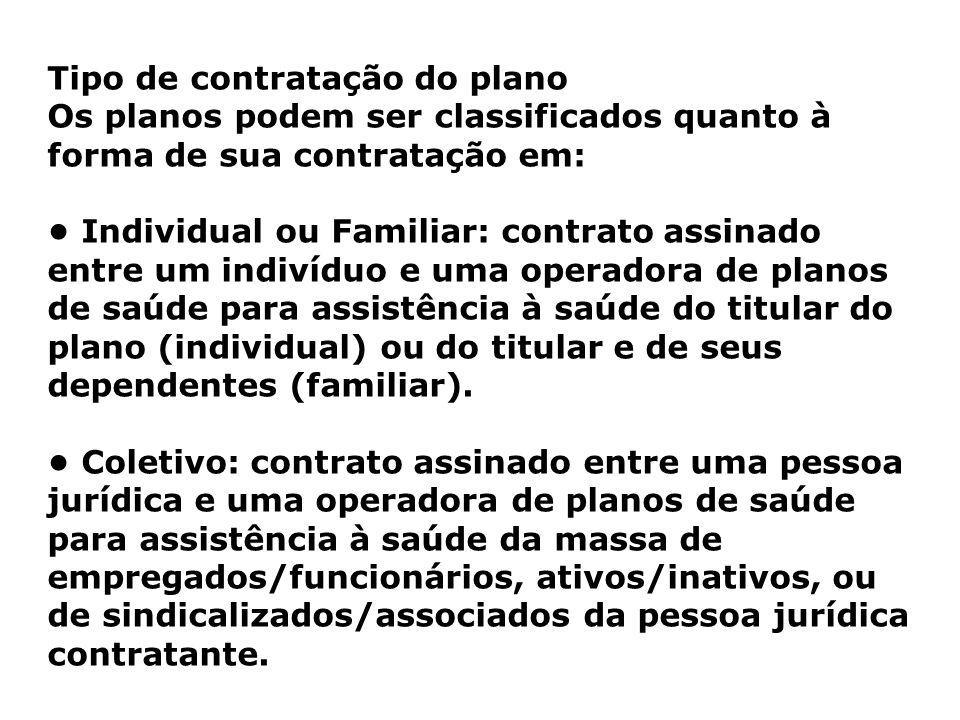 Tipo de contratação do plano Os planos podem ser classificados quanto à forma de sua contratação em: Individual ou Familiar: contrato assinado entre u