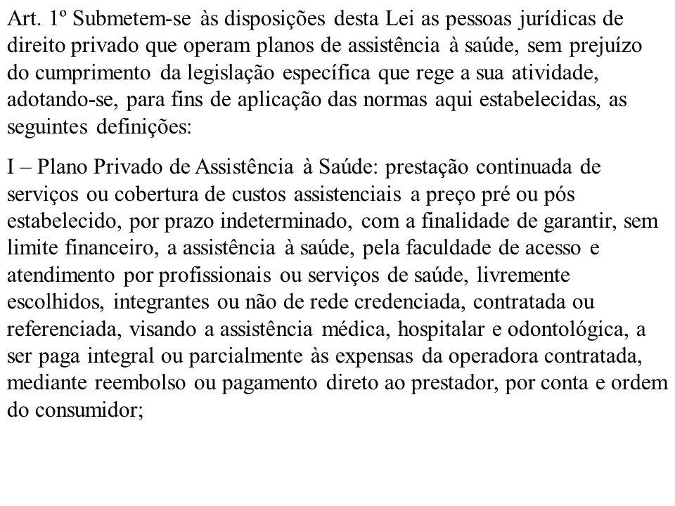 Art. 1º Submetem-se às disposições desta Lei as pessoas jurídicas de direito privado que operam planos de assistência à saúde, sem prejuízo do cumprim