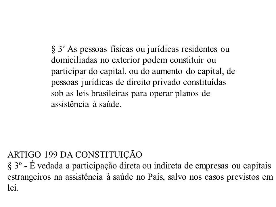 § 3º As pessoas físicas ou jurídicas residentes ou domiciliadas no exterior podem constituir ou participar do capital, ou do aumento do capital, de pe