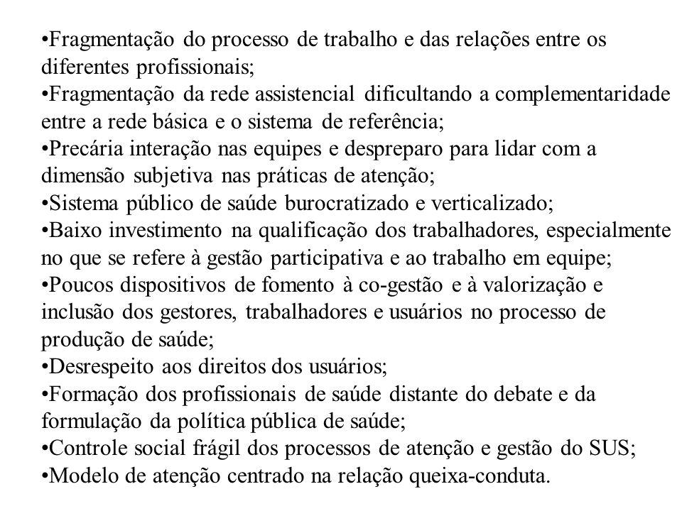 Fragmentação do processo de trabalho e das relações entre os diferentes profissionais; Fragmentação da rede assistencial dificultando a complementarid