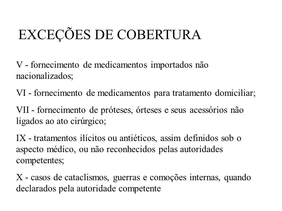 V - fornecimento de medicamentos importados não nacionalizados; VI - fornecimento de medicamentos para tratamento domiciliar; VII - fornecimento de pr