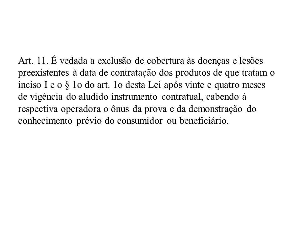 Art. 11. É vedada a exclusão de cobertura às doenças e lesões preexistentes à data de contratação dos produtos de que tratam o inciso I e o § 1o do ar