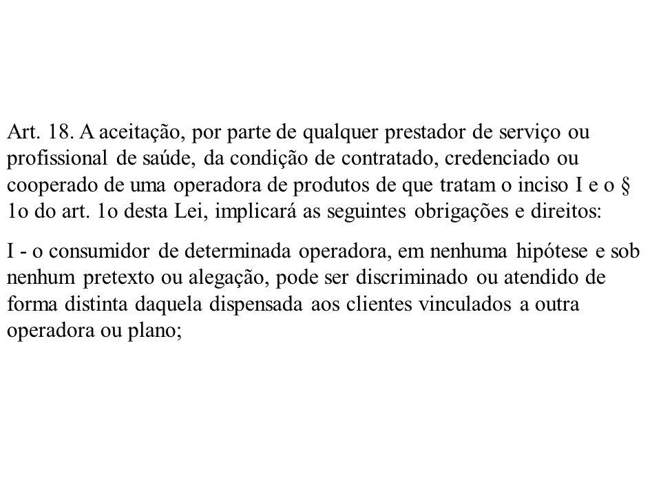 Art. 18. A aceitação, por parte de qualquer prestador de serviço ou profissional de saúde, da condição de contratado, credenciado ou cooperado de uma