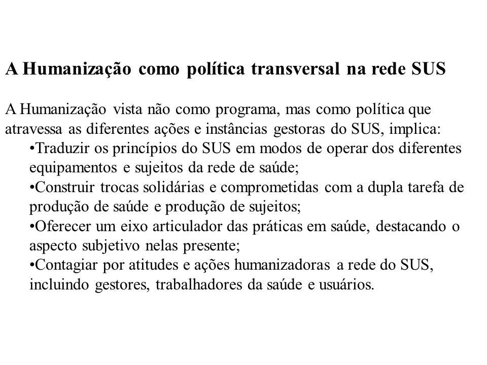 A Humanização como política transversal na rede SUS A Humanização vista não como programa, mas como política que atravessa as diferentes ações e instâ