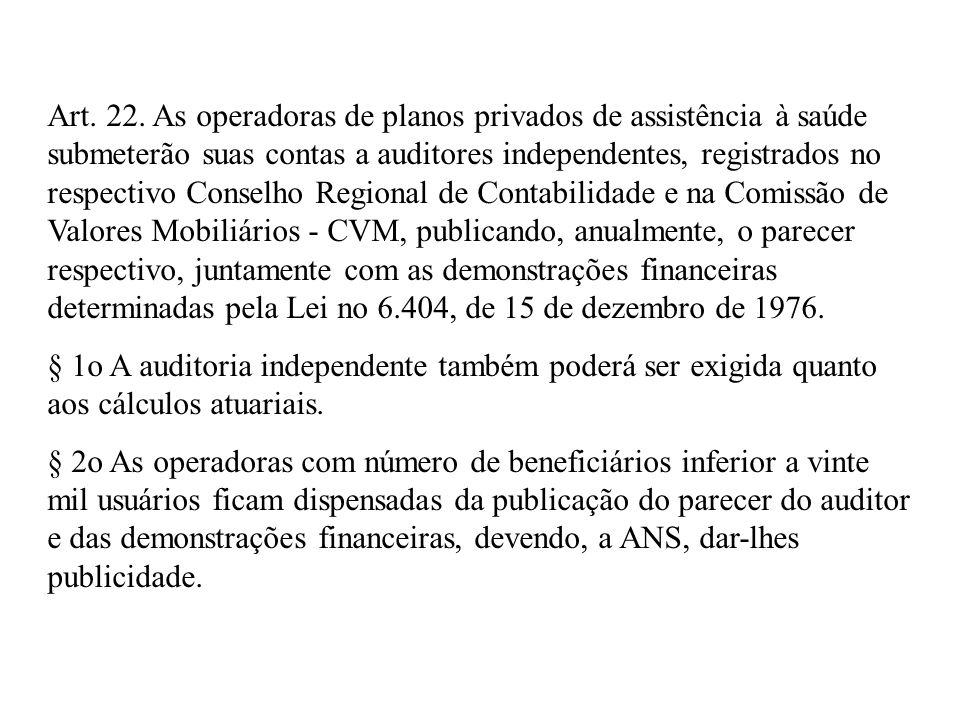 Art. 22. As operadoras de planos privados de assistência à saúde submeterão suas contas a auditores independentes, registrados no respectivo Conselho